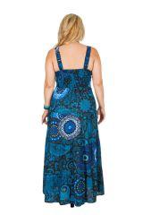 Robe longue bleue imprimée exotique grande taille Kimi