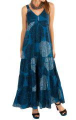 Robe longue bleue marine coupe empire femme Corina