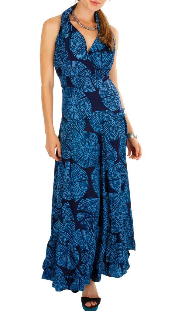 Robe longue bleue marine évasée à la taille cintrée Lolita