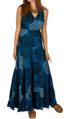 Robe longue bleue originale avec un imprimée à pois Adriana