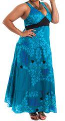 Robe longue Bleue pour Femme pulpeuse à Volants et Originale Ida 284406