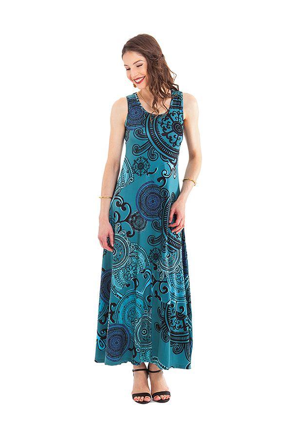 robe longue bleue sans manches ethnique a mandalas jasmine. Black Bedroom Furniture Sets. Home Design Ideas