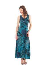 Robe longue Bleue sans manches Ethnique à Mandalas Jasmine 282035