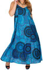 Robe longue bleue style ethnique grande taille Mirela