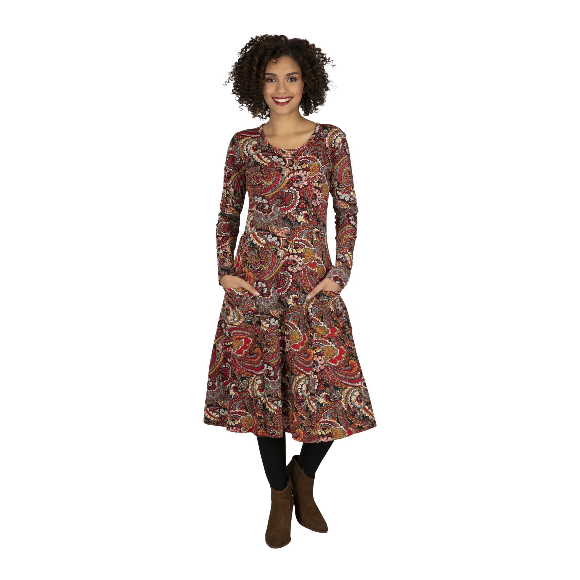 Robe longue bohème pour hiver à imprimé féminin Ida