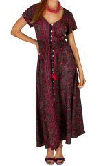 Robe longue boutonnée avec un imprimé arabesque Mado 306123