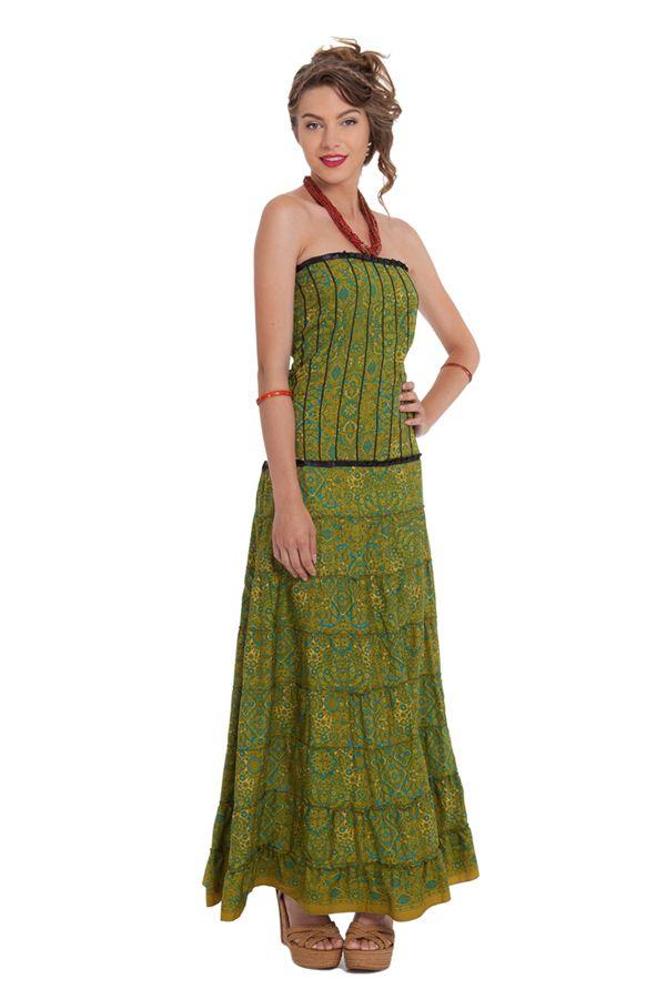 robe longue bustier chic et ethnique matala verte. Black Bedroom Furniture Sets. Home Design Ideas