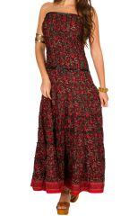 Robe longue bustier élégante avec imprimé floral rouge Matala 293208