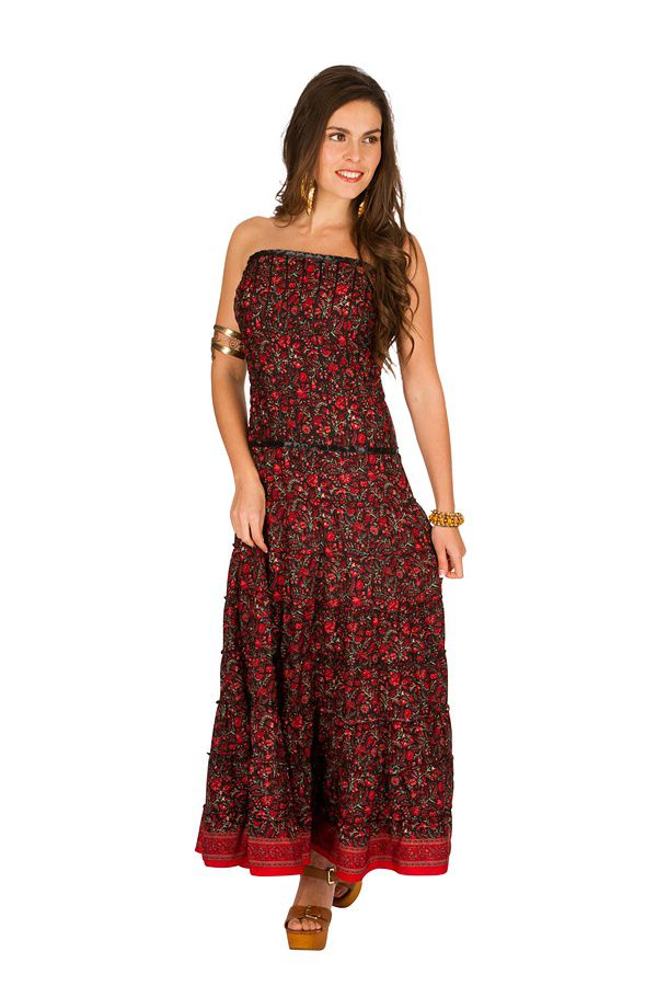 robe longue bustier l gante avec imprim floral rouge matala. Black Bedroom Furniture Sets. Home Design Ideas