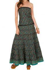 Robe longue bustier look romantique avec imprimés bleue Zola 293214