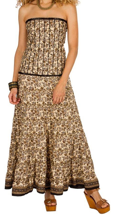 3697994990d Robe longue bustier Marron originale et ethnique style indien Anissa  298192. Loading zoom
