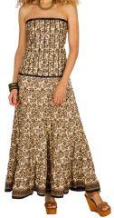 Robe longue bustier Marron originale et ethnique style indien Anissa 298192