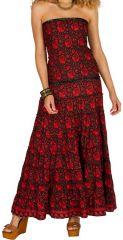 Robe longue bustier Rouge imprimée et originale Saphia 298201