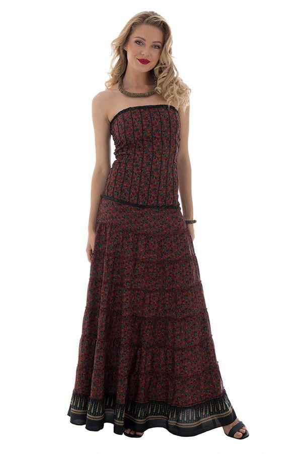 robe longue bustier style romantique et à volants avec imprimés ethniques Syn 289761