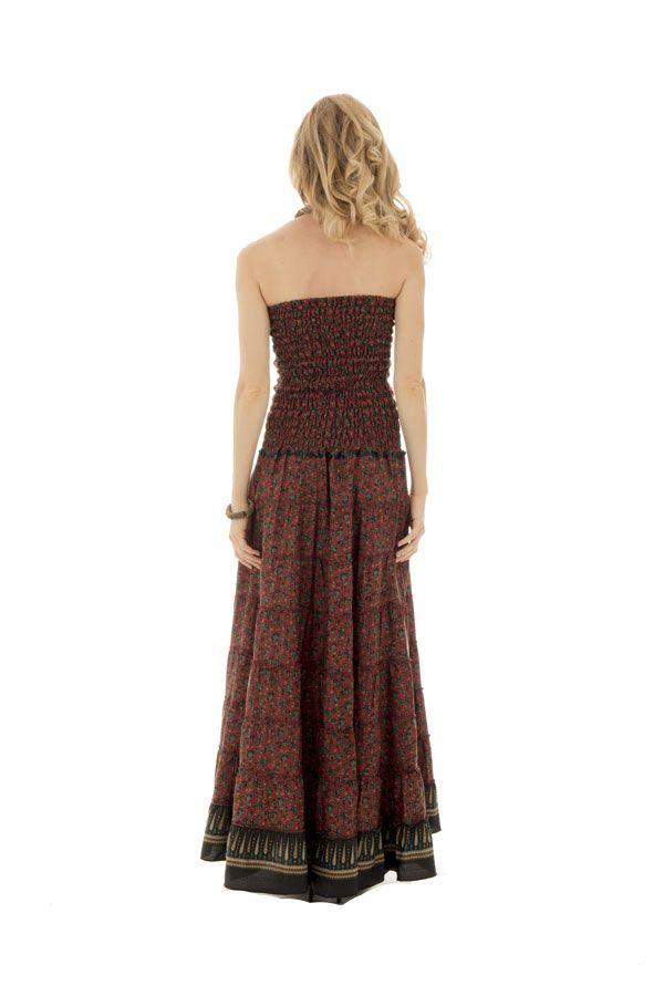 robe longue bustier style romantique et à volants avec imprimés ethniques Syn 289762