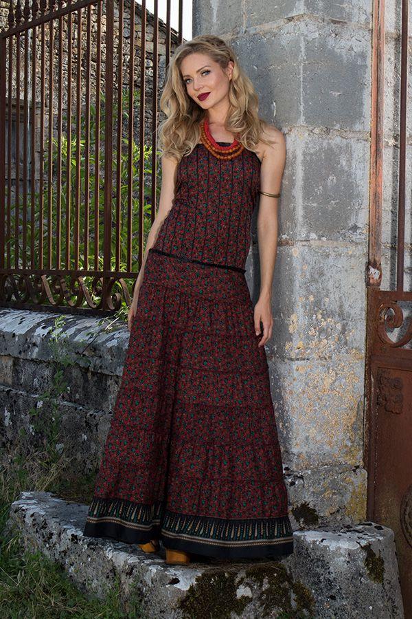 robe longue bustier style romantique et à volants avec imprimés ethniques Syn 289763
