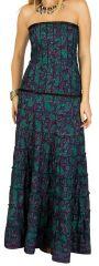 Robe longue bustier Violette à volants originale et imprimée Vaina 298223