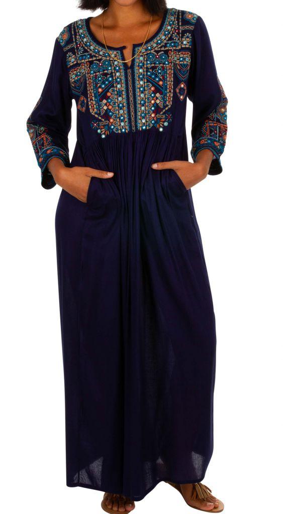 Robe longue caftan bleue marine brodée Marocaine 309619