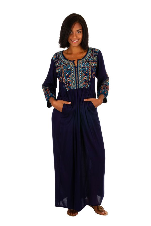 Robe longue caftan bleue marine brodée Marocaine 309620