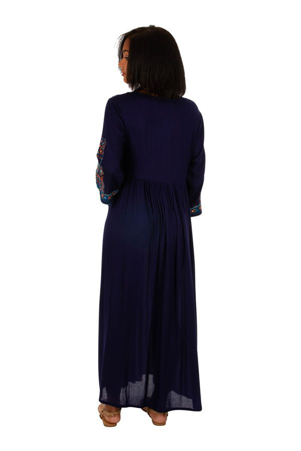 Robe longue caftan bleue marine brodée Marocaine 309621