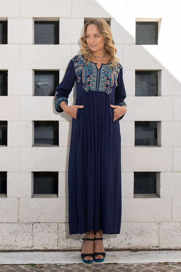 Robe longue caftan bleue marine brodée Marocaine 309622