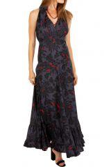 Robe longue chic évasée et cintrée à la taille noire Emilia 309539