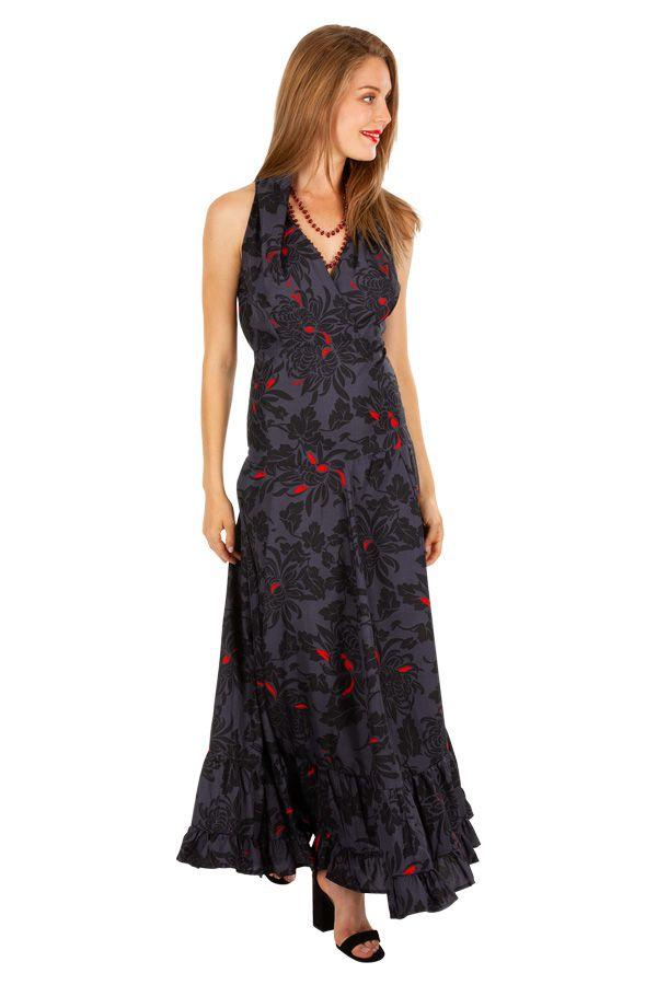 Robe longue chic évasée et cintrée à la taille noire Emilia 309540