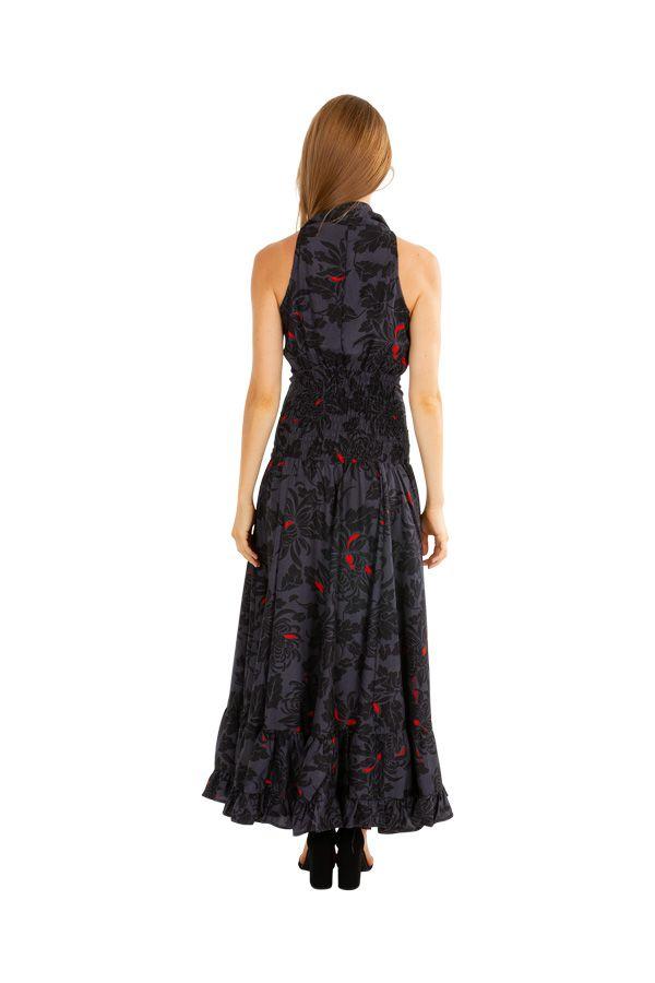 Robe longue chic évasée et cintrée à la taille noire Emilia 309541