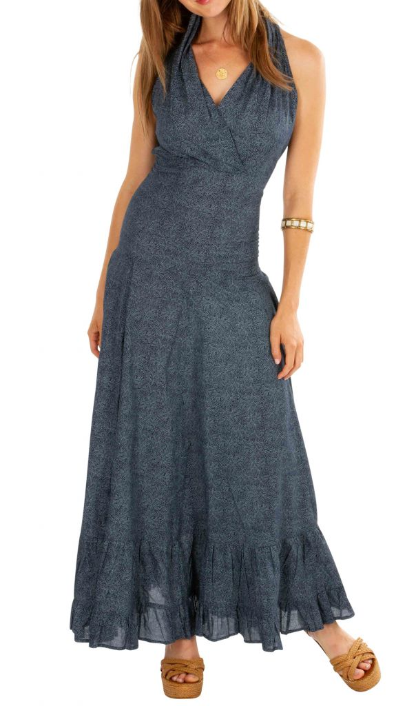 Robe longue chic grise pour soirée, mariage en coton Louna 309469