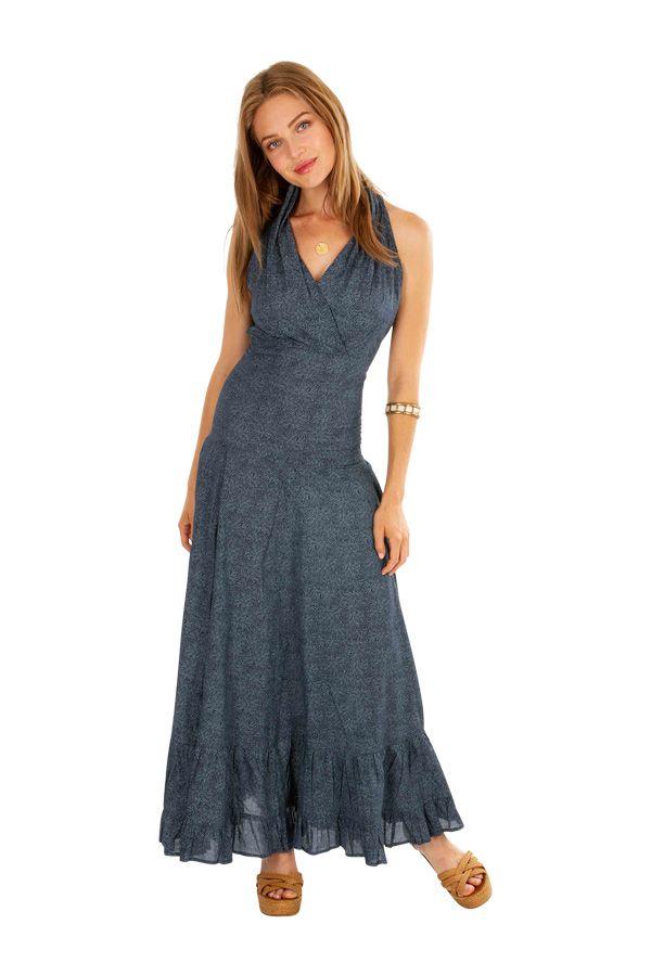 Robe longue chic grise pour soirée, mariage en coton Louna 309470