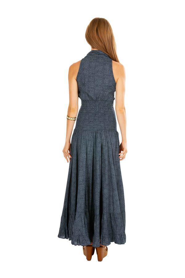 Robe longue chic grise pour soirée, mariage en coton Louna 309471