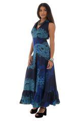 robe longue col cache coeur avec imprimés ethniques bleue Nayana 289251