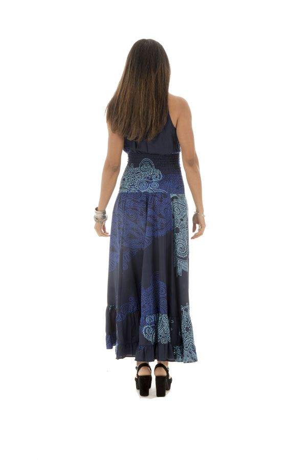 robe longue col cache coeur avec imprimés ethniques bleue Nayana 289252