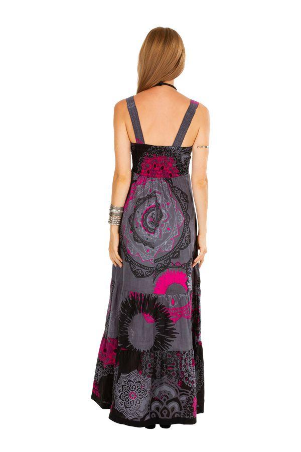 Robe longue colorée à bretelles larges et col rond d\'été Noeline
