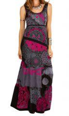 Robe longue colorée à bretelles larges et col rond d'été Noeline 315589