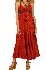 Robe longue colorée à fines bretelles et col rond orange Miranda 293295