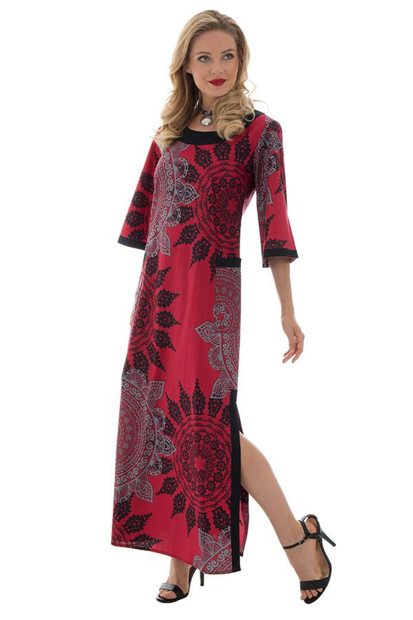 Robe longue colorée à manches 3/4 et col rond Michelle 288745