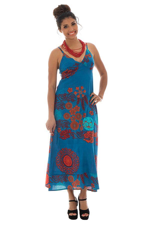 Robe longue colorée avec un col en v Iris 288627