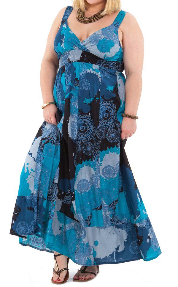 44632bd761c Robe longue d été à camaieu de Bleus Originale et Smockée Sylvia 284376.  Loading zoom