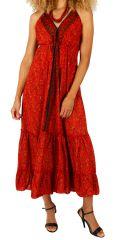 Robe longue d'été à dos nu colorée et imprimée Sophie 310713