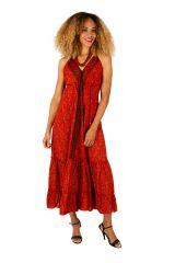 Robe longue d'été à dos nu colorée et imprimée Sophie 310714