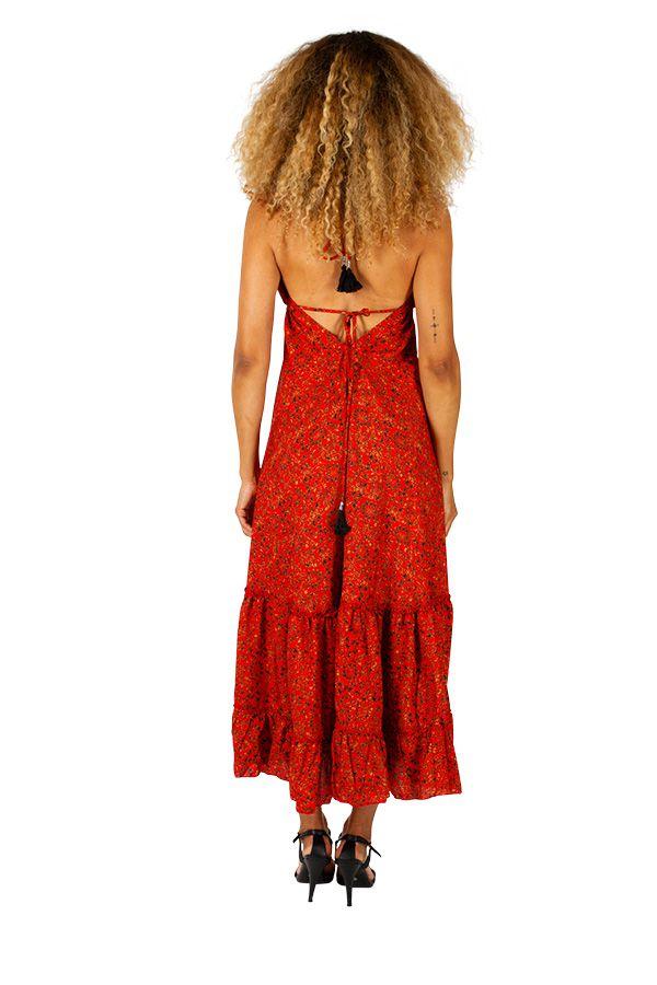 Robe longue d'été à dos nu colorée et imprimée Sophie 310715