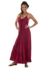 robe longue d'été à fines bretelles et smocks au dos fuchsia Lova 289709