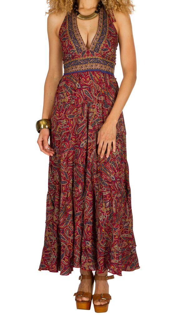 Robe longue d'été au dos nu imprimée et originale Jade 310280
