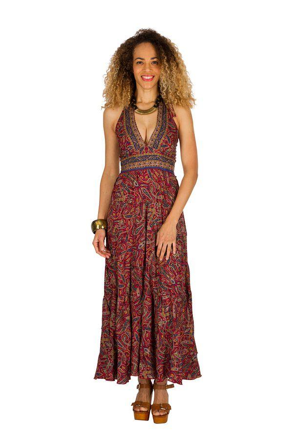Robe longue d'été au dos nu imprimée et originale Jade 310281