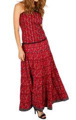 Robe longue d'été au top bustier bohème et chic Leila 310704