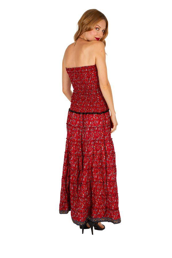 Robe longue d'été au top bustier bohème et chic Leila 310706