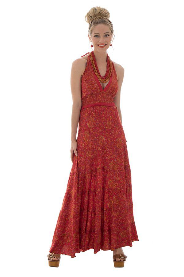 robe longue d'été avec un col féminin et un lien à nouer Tindra 289697