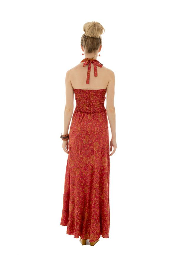 robe longue d'été avec un col féminin et un lien à nouer Tindra 289698