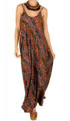 Robe longue d'été ethnique à fines bretelles Candice 311511